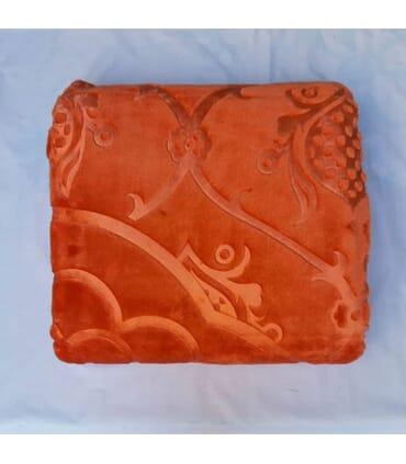پتو یک نفره رنگ نارنجی گلبافت طرح برجسته